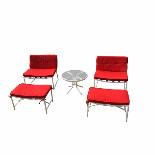 Buy della 5 piece patio conversation set white at for Wild orchid furniture