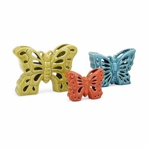 Denna Ceramic Butterflies - Set of 3- Benzara