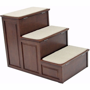 Designer Pet Steps with Storage - Mahogany