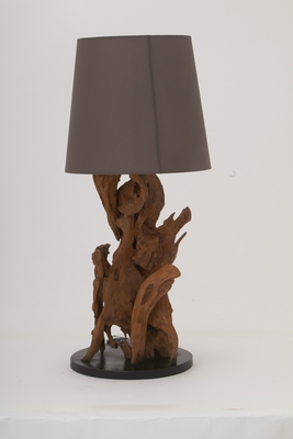 Designer Teak Wood Metal Table Lamp - 89563 by Benzara