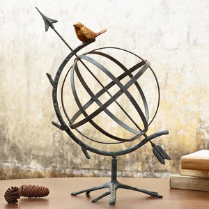 Desktop Armillary Sphere with a Gold Colored Bird by SPI-HOME