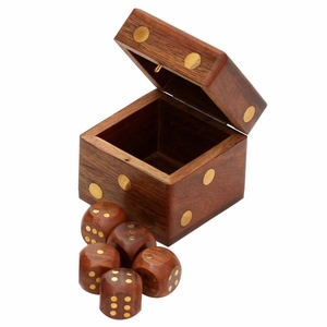 "Dice Plays Handmade 2.4"" Square Rosewood Dice Box With Brass Inlay Work"