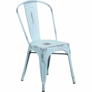 Distressed Blue Metal Chair Blue - ET-3534-DB-GG by Flash Furniture