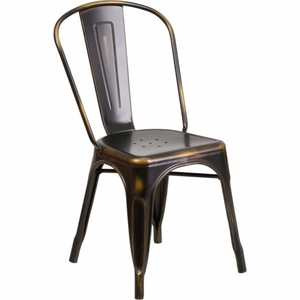 Distressed Copper Metal Chair Copper - ET-3534-COP-GG by Flash Furniture