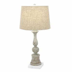 Distressed Finish Polystone Marble Table Lamp - 58672 by Benzara