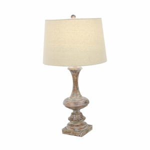 Distressed Finish Polystone Table Lamp - 58665 by Benzara