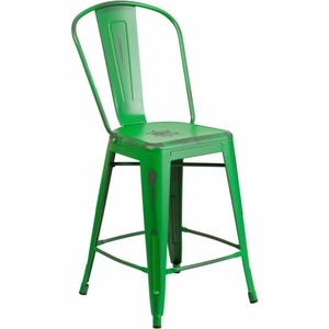 Distressed Green Metal Stool Green - ET-3534-24-GN-GG by Flash Furniture