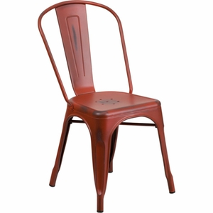 Distressed Red Metal Chair Red - ET-3534-RD-GG by Flash Furniture