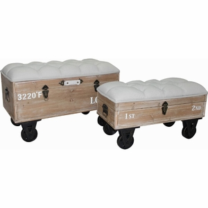 The Urban Port Distressed style Industrial Ottoman Set of Two