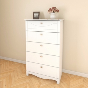 Luxeria 310503 Dixie 5-Drawer White Chest Decorative