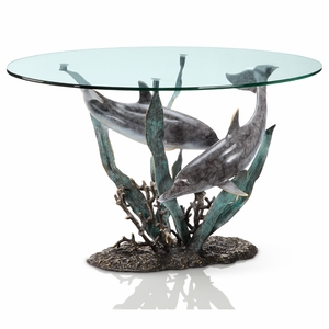 Dolphin Duet Seascape with Coral and Reef Coffee Table by SPI-HOME