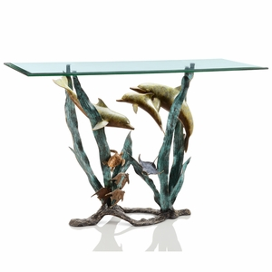 Dolphin, Turtle and Fish SeaWorld Console Table with Reef andecorals by SPI-HOME
