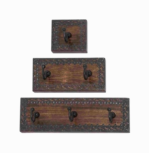 Classy And Attractive Wood Metal Wall Hook Set Of Three - 14442 by Benzara