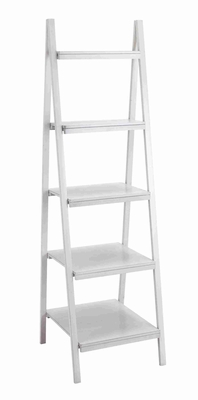 Spacious and Durable  Timber Wooden Leaning Shelf in White - 96231 by Benzara