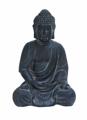 Durable Fiber Clay Buddha Glanced with Antiqued Black Finish - 50810 by Benzara