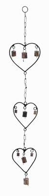 Durable Rustproof Metal Heart Wind Chime With A Design Of Hearts - 26750 by Benzara