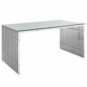 EEI-1433-SLV Gridiron Stainless Steel Dining Table Silver