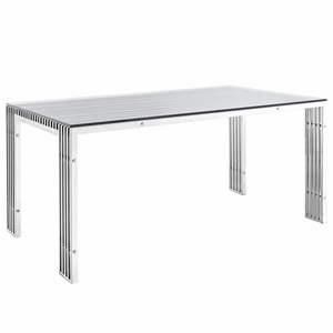 EEI-1434-SLV Gridiron Stainless Steel Dining Table Silver
