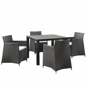 EEI-1744-BRN-WHI-SET Junction 5 Piece Outdoor Patio Dining Set Brown White
