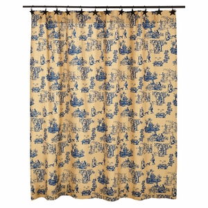 Elaine Azure Shower Curtain 72x72 - 26155 by VHC Brands