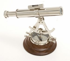 Elegant And Classy Brass Wood Compass - 28397 by Benzara