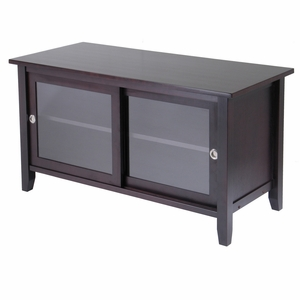 Elegant and Classy TV Media Stand with sliding cabinet doors by Winsome Woods