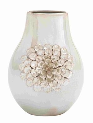 Traditional Pearl Finish Ceramic Vase - 62153 by Benzara