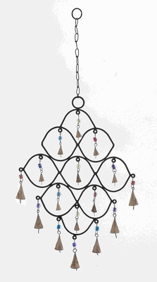 Elegant Curves Designed Metal Bead Wind Chime With Colorful Beads - 26736 by Benzara