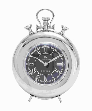 27856 Nickel Plated Table Clock With Roman Numerals - 27856 by Benzara
