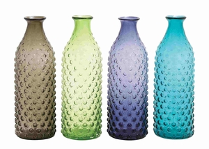 Set of 4 bubble-surfaced glass vase - 67456 by Benzara