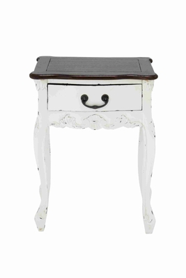 Dona Wooden Table In White With Brown Top And A Drawer - 37742 by Benzara