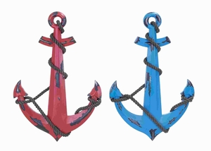 Wood Anchor 2 Assorted with Minimal Detail Work - 41280 by Benzara