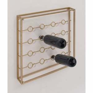 Elegantly Styled Metal Acrylic Wine Holder, Golden - 84376 by Benzara