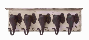 Wood and metal elephant wall hooks - 65152 by Benzara