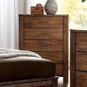 Elkton Transitional Style Chest With Handle Pulls, Brown