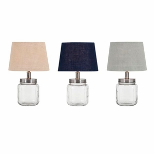 Ella Elaine Fillable Glass Jar Lamps - Ast 3