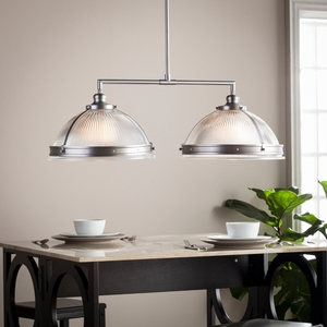 Ellerby Double Half Globe Island Pendant Lamp - Satin Chrome
