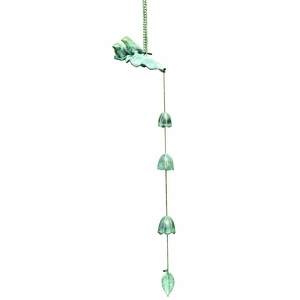 Elongated Brass Wind Chime with Birds, Leaves and Bells by SPI-HOME