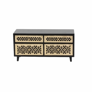 Emily Golden And Black Wood Jewelry Chest - 82185 by Benzara