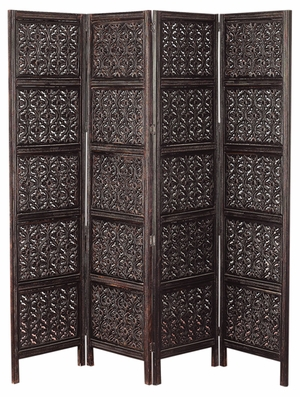 Wood 4 Panel Screen For Privacy Anddecor Both - 32618 by Benzara