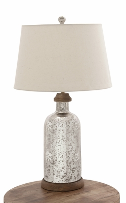 Enduring Glass Wood Table Lamp - 23577 by Benzara