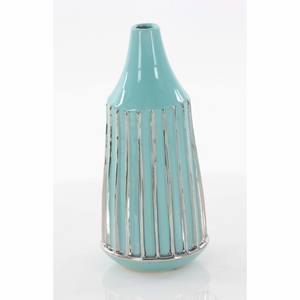 Engaging Ceramic Vases, Turquoise & Silver - 42375 by Benzara