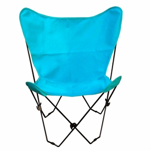 Enthralling Teal Colored Cotton Foldable Butterfly Chair by Algoma