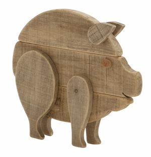 Enthralling Wood Pig - 76545 by Benzara