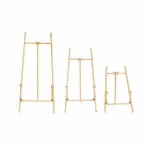 Enticing Metal Easel Gold Set Of 3 by Benzara