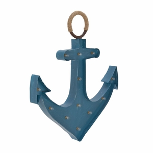 Enticing Metal Wood Rope Led Anchor Sign - 54777 by Benzara