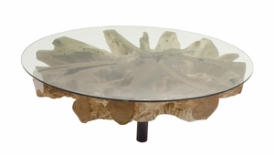 Enticing Teak Coffee Table With Glass - 89562 by Benzara