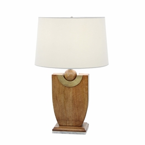 Enticing Wood Marble Table Lamp - 94549 by Benzara