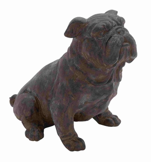 Antique Poly Stone Sitting Bulldog Statue - 44718 by Benzara