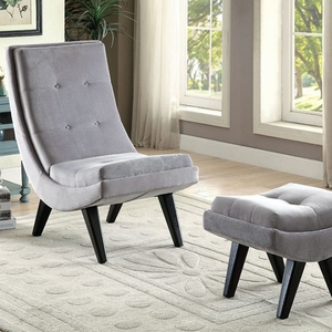 Esmeralda Transitional Accent Chair With Ottoman, Gray